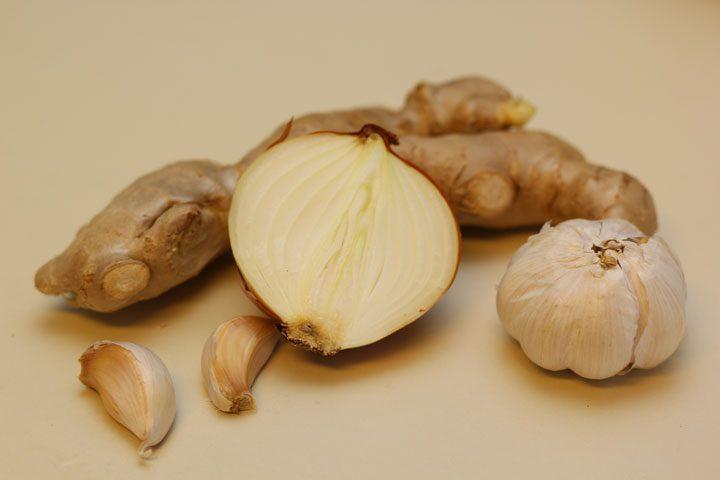 ingredients for black garlic oil mayu recipe ginger, garlic, onion
