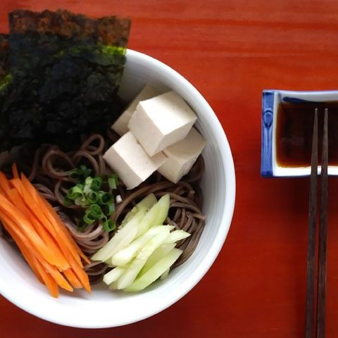 cold soba noodle salad with easy asian dressing dipping sauce.