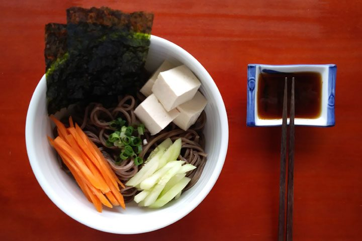 cold soba noodle salad with easy asian dressing dipping sauce