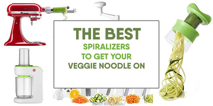 best spiralizers to get your veggie noodle on atop collage of popular spiralizer products on amazon