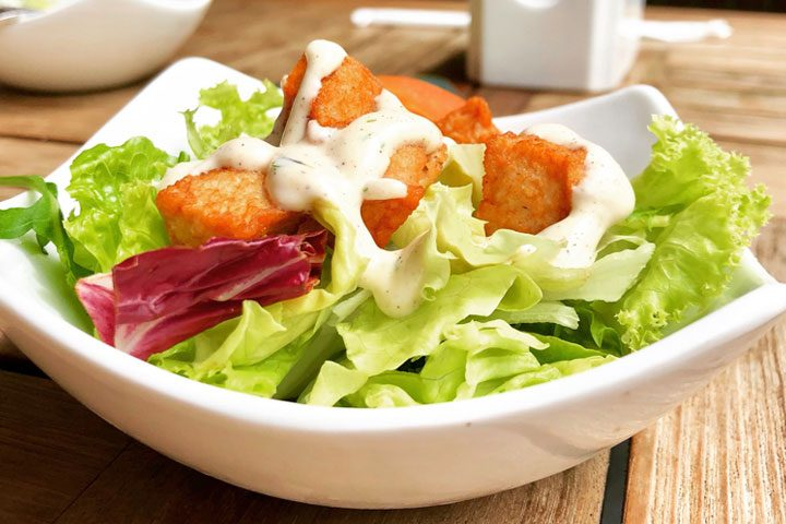 salad with ranch dressing from buttermilk substitute