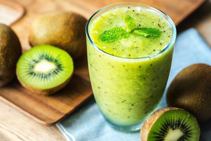 top angle shot of kiwi smoothie
