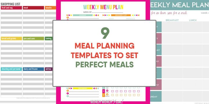 meal planning templates to set perfect meals
