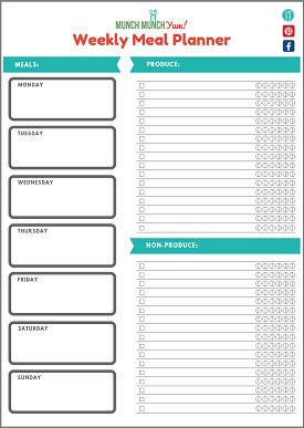 free weekly meal planner and menu planning template