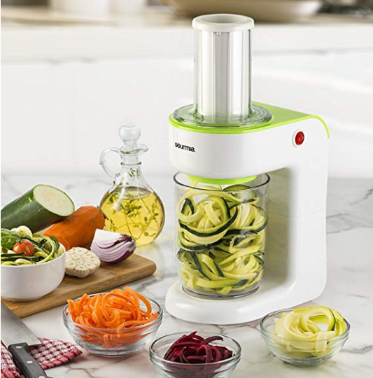 gourmia electric spiralizer with measuring cup container