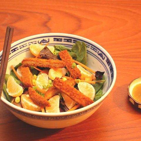 vegetarian, meatless chinese chicken salad with sesame dressing.