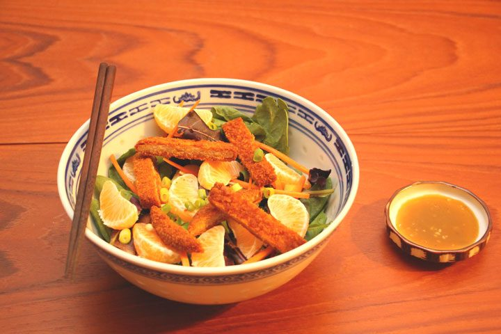 vegetarian, meatless chinese chicken salad with sesame dressing