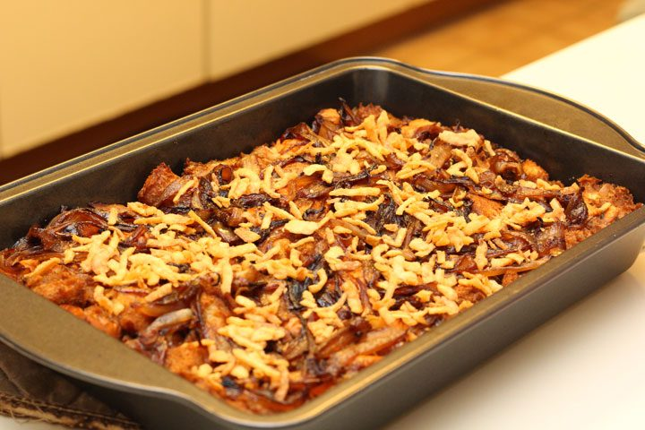 easy homemade french onion thanksgiving stuffing in baking pan oven