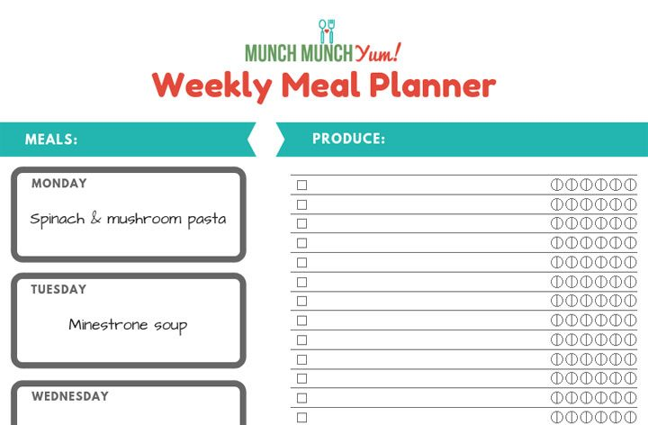 step 1- write down meals for each day of the week in the appropriate box