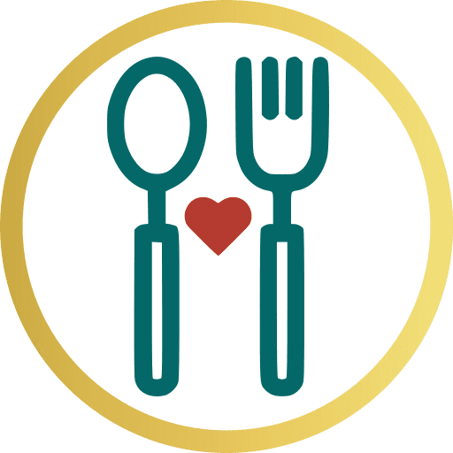 munch munch yum logo with blue fork, spoon and red orange heart in gold circle outline.