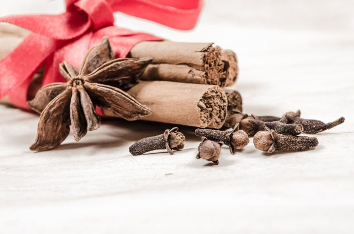 sticks of cinnamon with spices like clove for pumpkin bread.