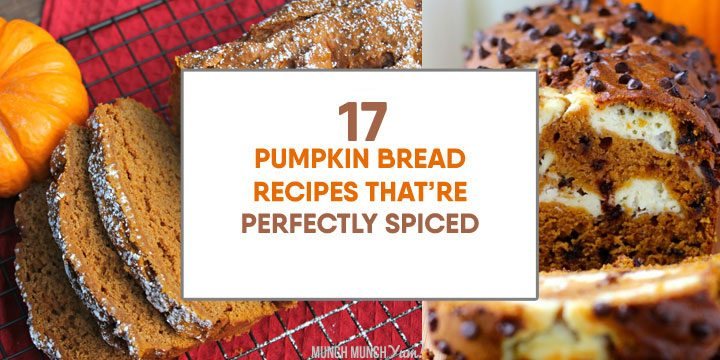 pumpkin bread recipes that are perfectly spiced atop collage of homemade pumpkin breads