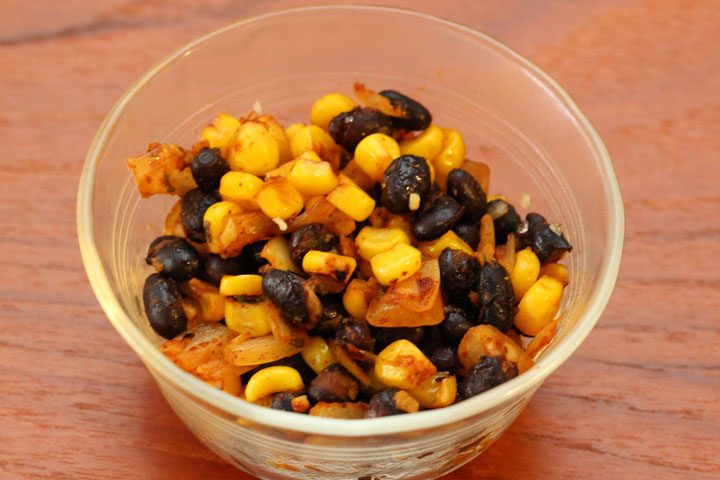 single side dish serving of tex mex mix with black beans