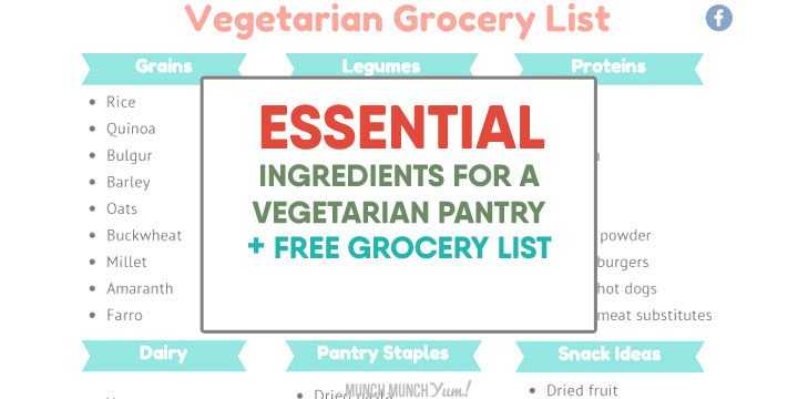 Essential ingredients for a vegetarian pantry plus free grocery list for shopping