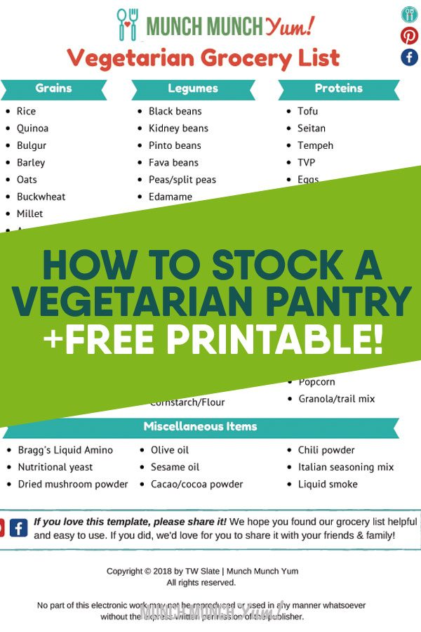 how to stock a vegetarian pantry free printable atop vegetarian grocery list