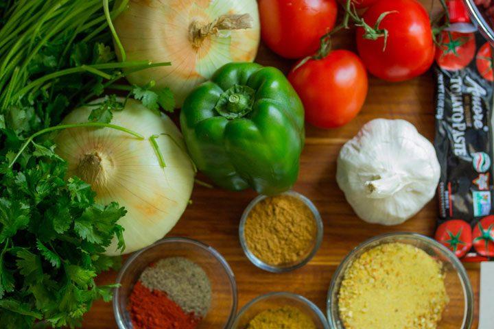 vegetarian pantry essential - fresh vegetables and aromatics.