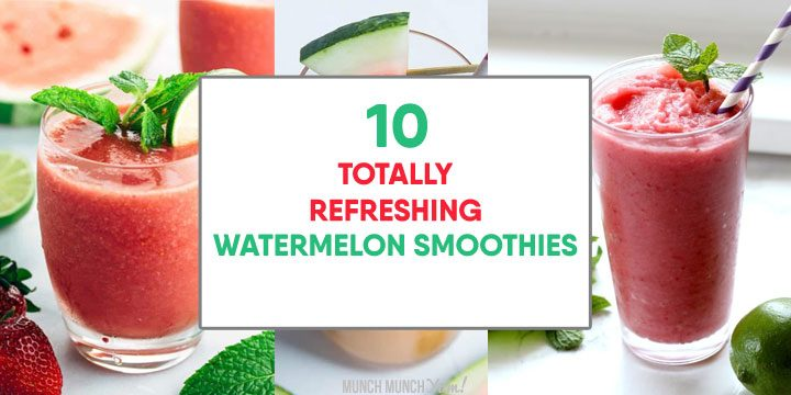 collage of refreshing watermelon smoothie recipes.
